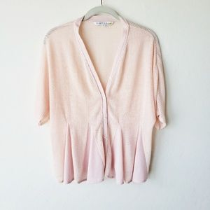 Open Knit Peplum Cardigan